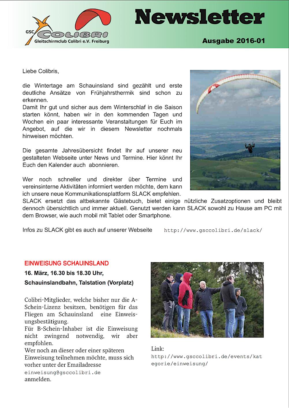 Colibri Newsletter 2016_01