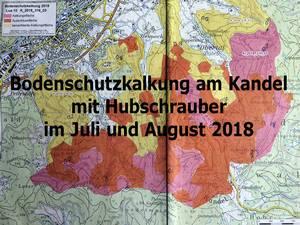 Kandel: Bodenschutzkalkung am Kandel mit Hubschrauber im Juli und August 2018